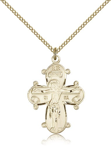 Christine Cross Pendant, Christ and Madonna with Child - 14KT Gold Filled