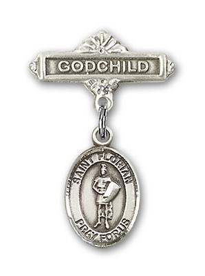 Pin Badge with St. Florian Charm and Godchild Badge Pin - Silver tone