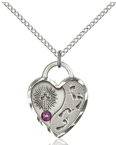 Heart Shaped Footprints Pendant with Birthstone Options - Amethyst