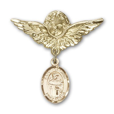 Pin Badge with St. Casimir of Poland Charm and Angel with Larger Wings Badge Pin - 14K Yellow Gold