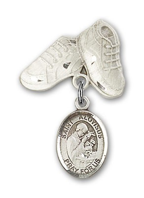 Pin Badge with St. Aloysius Gonzaga Charm and Baby Boots Pin - Silver tone