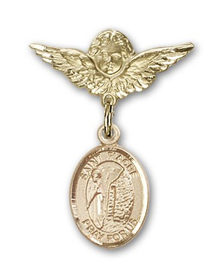 Pin Badge with St. Fiacre Charm and Angel with Smaller Wings Badge Pin - 14K Solid Gold