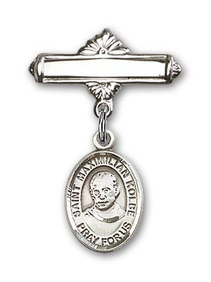 Pin Badge with St. Maximilian Kolbe Charm and Polished Engravable Badge Pin - Silver tone