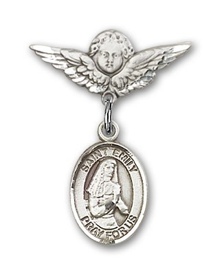 Pin Badge with St. Emily de Vialar Charm and Angel with Smaller Wings Badge Pin - Silver tone