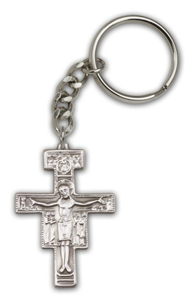 San Damiano Keychain - Antique Silver