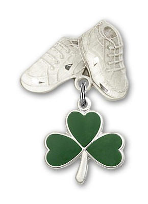 Baby Badge with Shamrock Charm and Baby Boots Pin - Silver tone