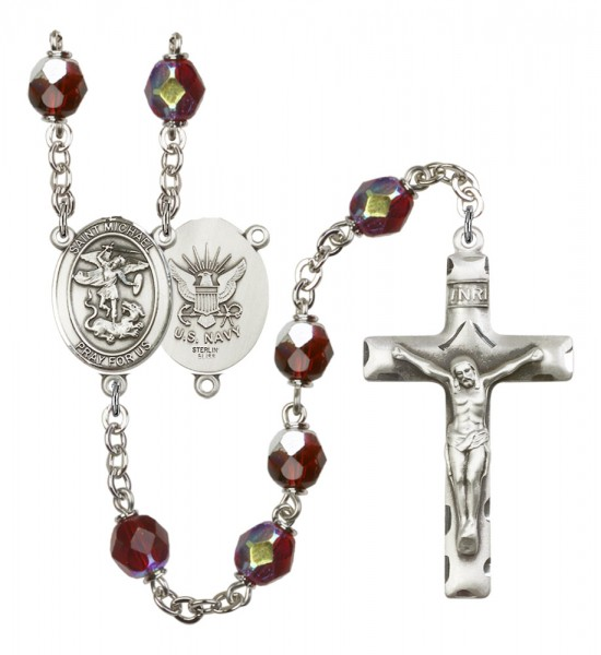 Men's St. Michael Navy Silver Plated Rosary - Garnet