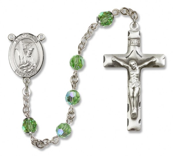 St. Helen Sterling Silver Heirloom Rosary Squared Crucifix - Peridot