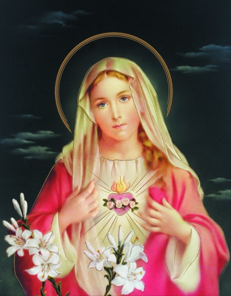 Immaculate Heart of Mary Print - Sold in 3 per pack - Multi-Color