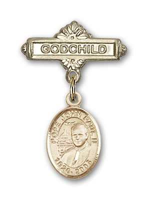 Baby Badge with Pope John Paul II Charm and Godchild Badge Pin - Gold Tone