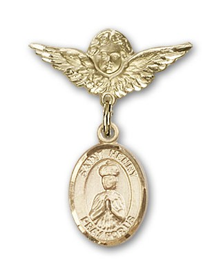 Pin Badge with St. Henry II Charm and Angel with Smaller Wings Badge Pin - 14K Solid Gold