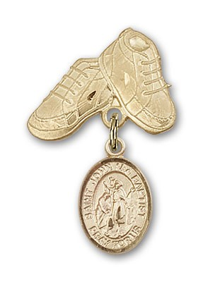 Pin Badge with St. John the Baptist Charm and Baby Boots Pin - 14K Yellow Gold