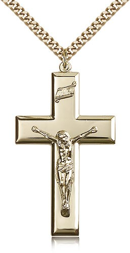Men's Thick High Polish Crucifix Pendant - 14KT Gold Filled