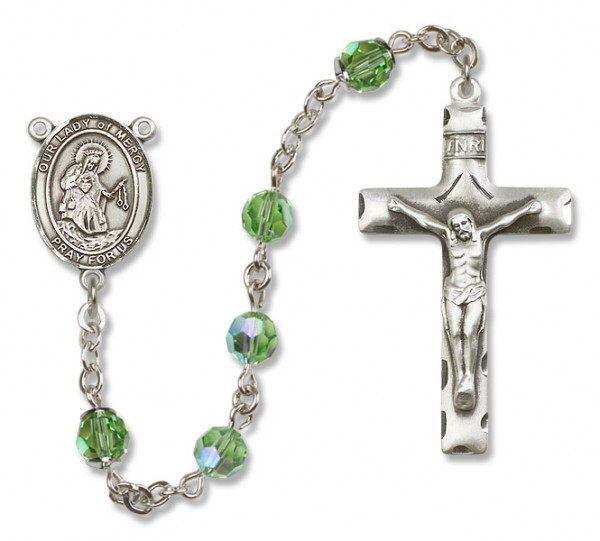 Our Lady of Mercy Sterling Silver Heirloom Rosary Squared Crucifix - Peridot