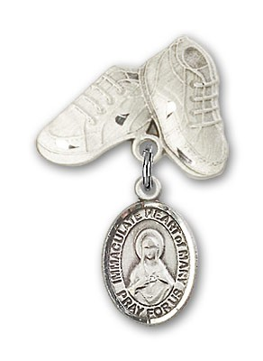 Baby Badge with Immaculate Heart of Mary Charm and Baby Boots Pin - Silver tone