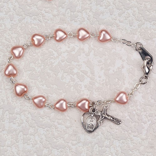 Pink Heart Shaped First Communion Rosary Bracelet with Miraculous & Crucifix - Pink | Silver