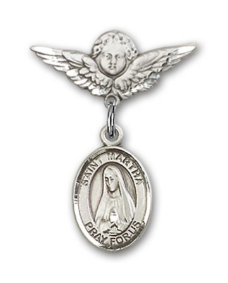 Pin Badge with St. Martha Charm and Angel with Smaller Wings Badge Pin - Silver tone