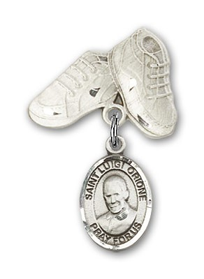 Pin Badge with St. Luigi Orione Charm and Baby Boots Pin - Silver tone