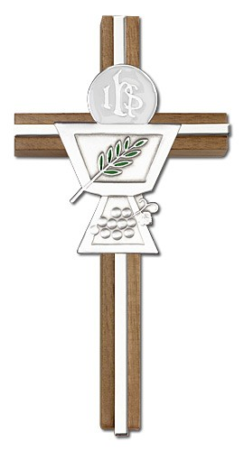 First Communion Chalice and Holy Host Wall Cross in Walnut Wood and Metal Inlay - 6 inch - Silver tone