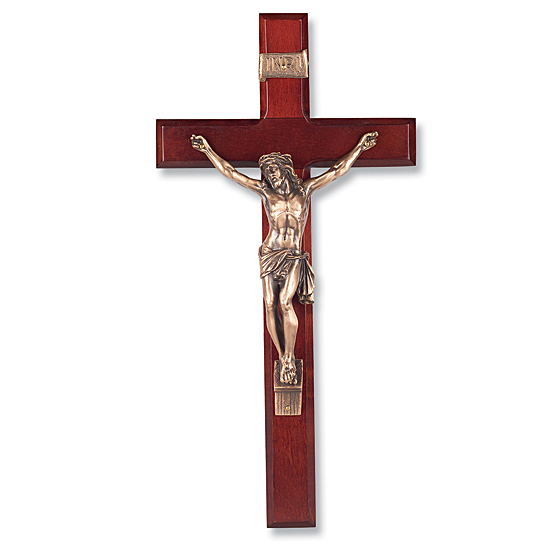 Dark Cherry Wall Crucifix - 13 inch - Cherry Wood