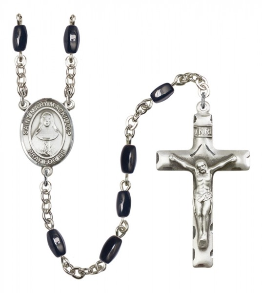 Men's St. Mary Mackillop Silver Plated Rosary - Black | Silver