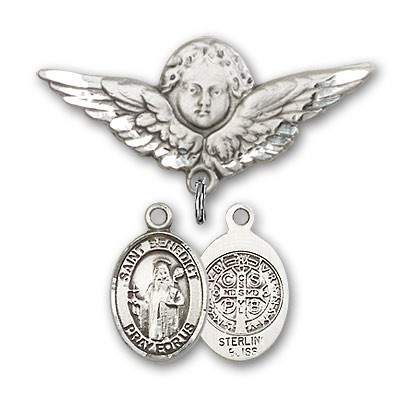 Pin Badge with St. Benedict Charm and Angel with Larger Wings Badge Pin - Silver tone