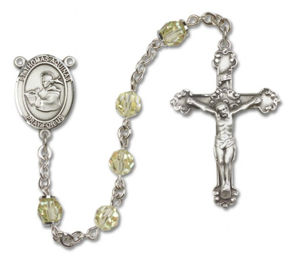 St. Thomas Aquinas Sterling Silver Heirloom Rosary Fancy Crucifix - Jonquil