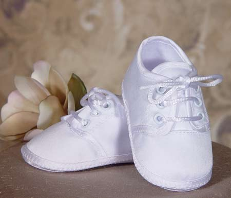 Boys Plain White Satin Shoe - White
