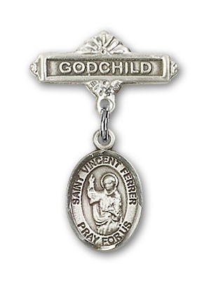 Pin Badge with St. Vincent Ferrer Charm and Godchild Badge Pin - Silver tone
