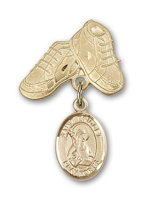 Pin Badge with St. Bridget of Sweden Charm and Baby Boots Pin - 14K Yellow Gold