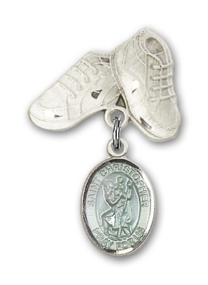 Pin Badge with St. Christopher Charm and Baby Boots Pin - Silver | Blue