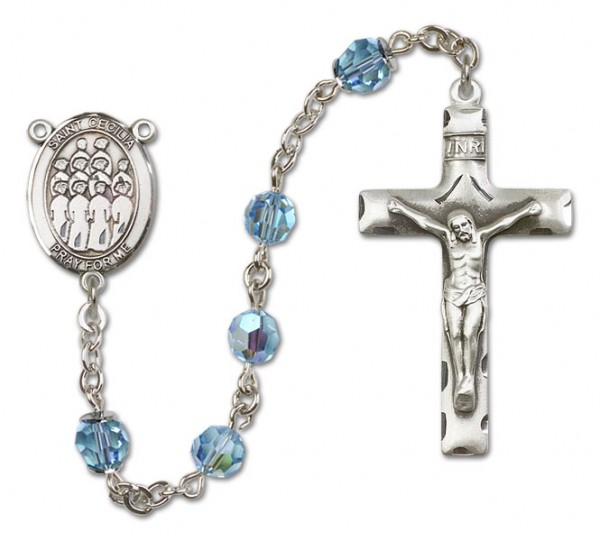 St. Cecilia with Choir Sterling Silver Heirloom Rosary Squared Crucifix - Aqua