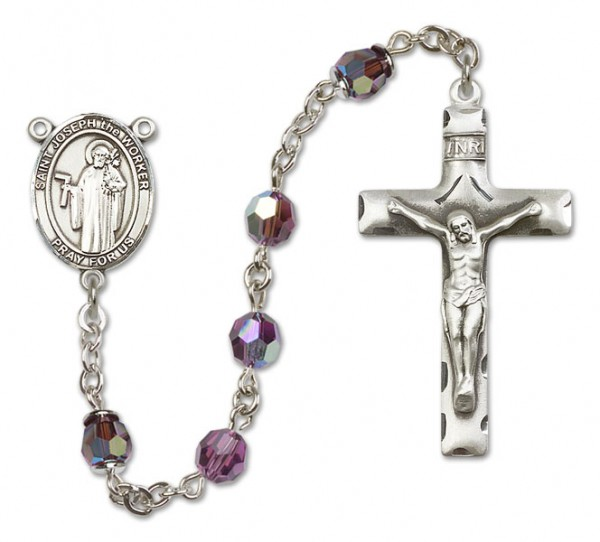 St. Joseph the Worker Sterling Silver Heirloom Rosary Squared Crucifix - Amethyst
