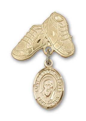 Pin Badge with St. Francis de Sales Charm and Baby Boots Pin - Gold Tone