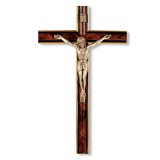 Italian Rounded Burl Wall Wood Crucifix - 10 inch - Cherry Wood