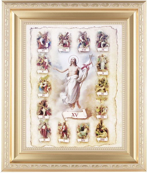 Stations of the Cross Illustrated Framed Print - #138 Frame