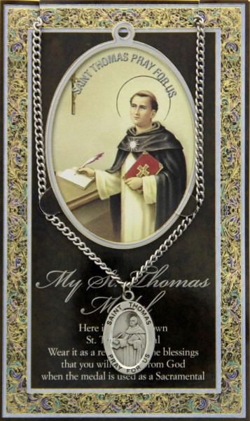 St. Thomas Aquinas Medal in Pewter with Bi-Fold Prayer Card - Silver tone