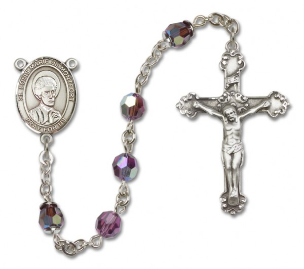 St. Louis Marie de Montfort Sterling Silver Heirloom Rosary Fancy Crucifix - Amethyst