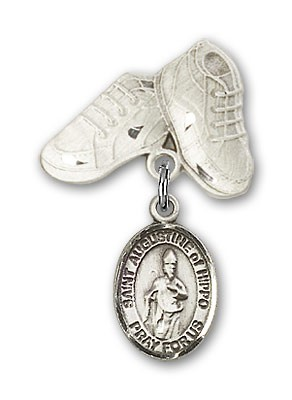 Pin Badge with St. Augustine of Hippo Charm and Baby Boots Pin - Silver tone