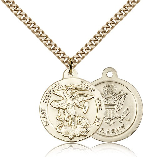 Men's Round St. Michael the Archangel Army Medal - 14KT Gold Filled