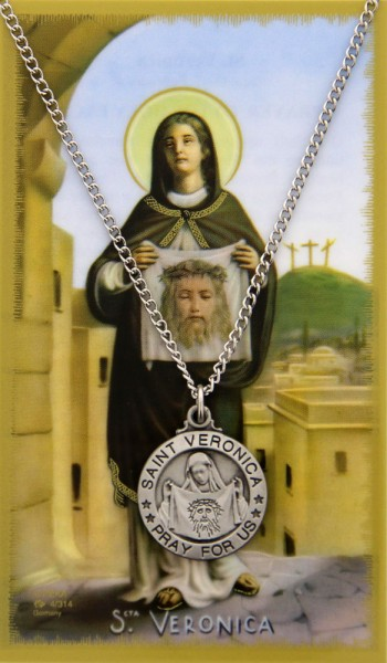 Round St. Veronica Pewter Medal with Prayer Card - Silver tone