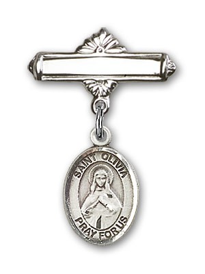 Pin Badge with St. Olivia Charm and Polished Engravable Badge Pin - Silver tone