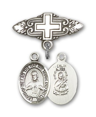 Pin Badge with Scapular Charm and Badge Pin with Cross - Silver tone