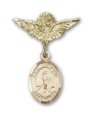 Pin Badge with St. Benjamin Charm and Angel with Smaller Wings Badge Pin - Gold Tone