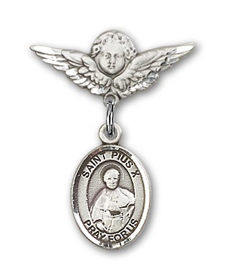 Pin Badge with St. Pius X Charm and Angel with Smaller Wings Badge Pin - Silver tone