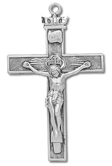 Textured Crown Tip Sterling Silver Rosary Crucifix - Sterling Silver