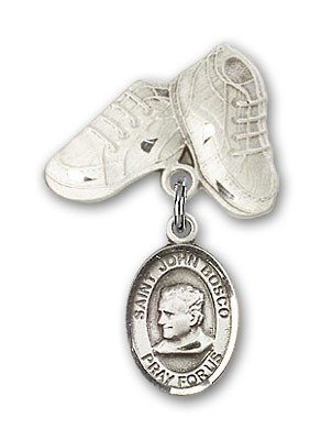 Pin Badge with St. John Bosco Charm and Baby Boots Pin - Silver tone