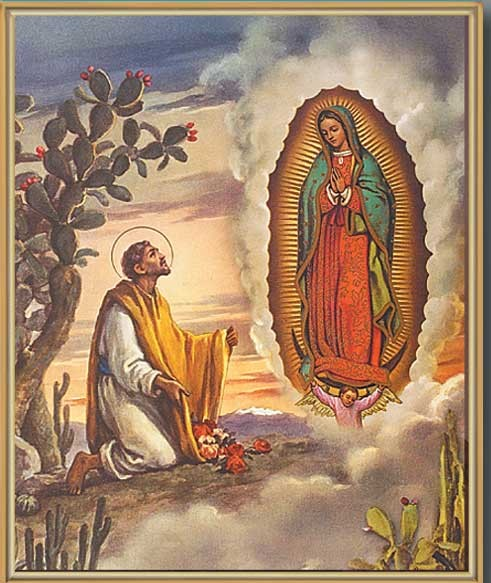 Our Lady of Guadalupe with Juan Diego Gold Framed Print - Full Color
