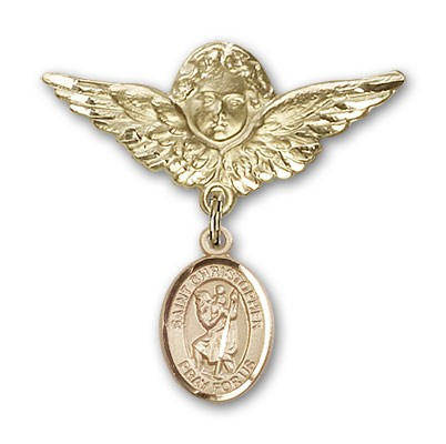 Pin Badge with St. Christopher Charm and Angel with Larger Wings Badge Pin - 14K Yellow Gold