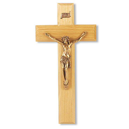 Wide Crossbar Oak Wood Wall Crucifix - 9 inch - Brown